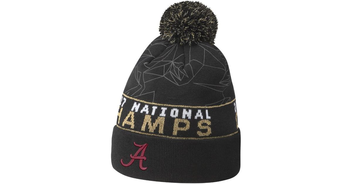 new concept dde5b 5be0a ... knit hat with pom new style lyst nike cfp champions alabama beanie  black in black for men 43c83 8c944 italy alabama crimson tide ...
