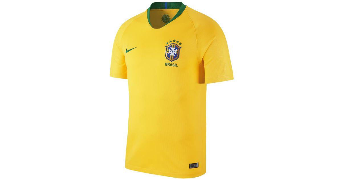 73ab3a5a484 Lyst - Nike 2018 Brasil Cbf Stadium Home Men s Soccer Jersey in Yellow for  Men