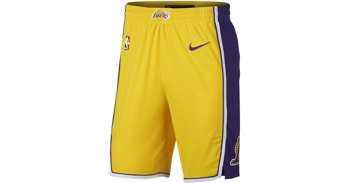 Lyst - Nike Los Angeles Lakers Icon Edition Authentic Men s Nba Shorts in  Yellow for Men c92f29fcdf15