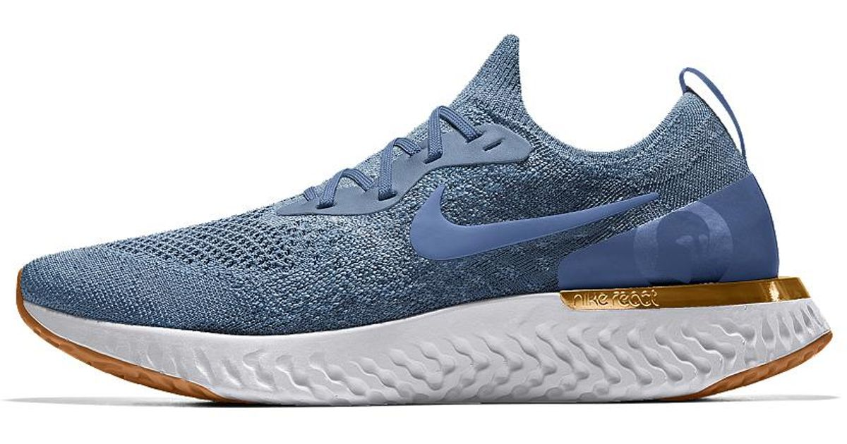 210dea424aca8 ... coupon lyst nike epic react flyknit premium id mens running shoe in blue  for men 3e85a