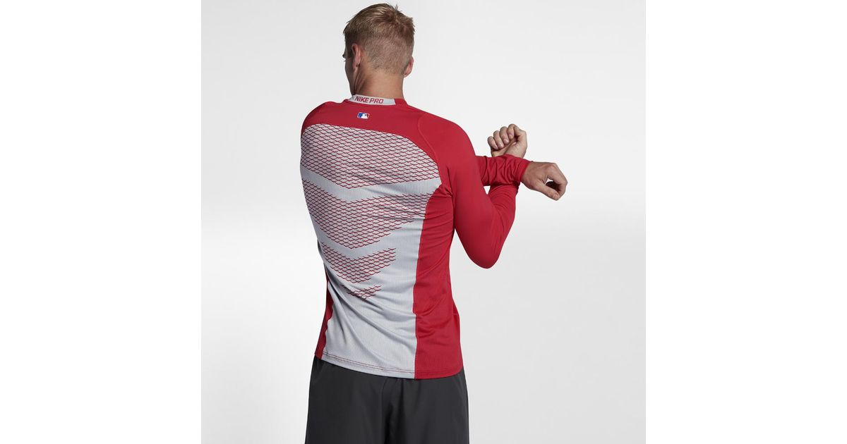5dbf0f35bfb8 Lyst - Nike Pro Hypercool Men s Long Sleeve Baseball Top in Red for Men