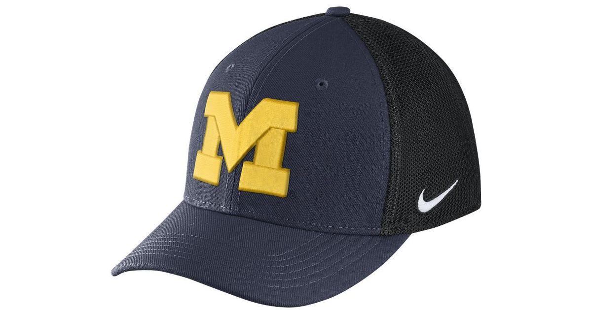 5acfa1274cf35 ... sweden lyst nike college aerobill swoosh flex michigan fitted hat in  blue for men b6d58 7f6a0