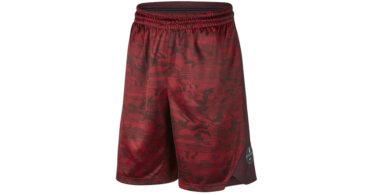 67e4891aa4e2 Lyst - Nike Dry Elite Kyrie Men s Printed Basketball Shorts in Red for Men