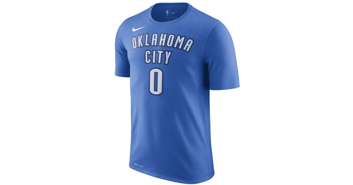 57c76d1e3 Nike Russell Westbrook Oklahoma City Thunder Dri-fit Nba T-shirt in Blue  for Men - Lyst