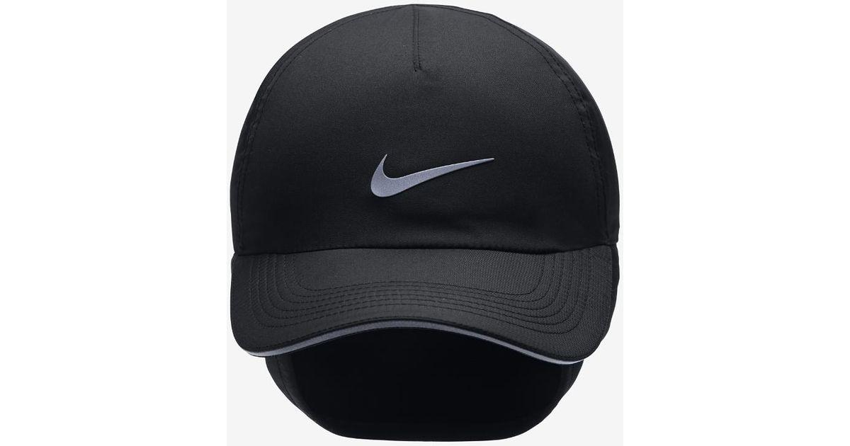 0129a4c4a6b Lyst - Nike Aerobill H86 Ear Flap Women s Adjustable Running Hat (black) in  Black for Men