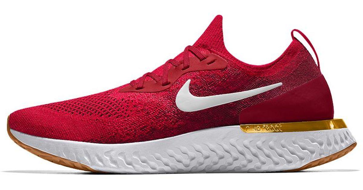 9f08a34fa639 Lyst - Nike Epic React Flyknit Id Women s Running Shoe in Red