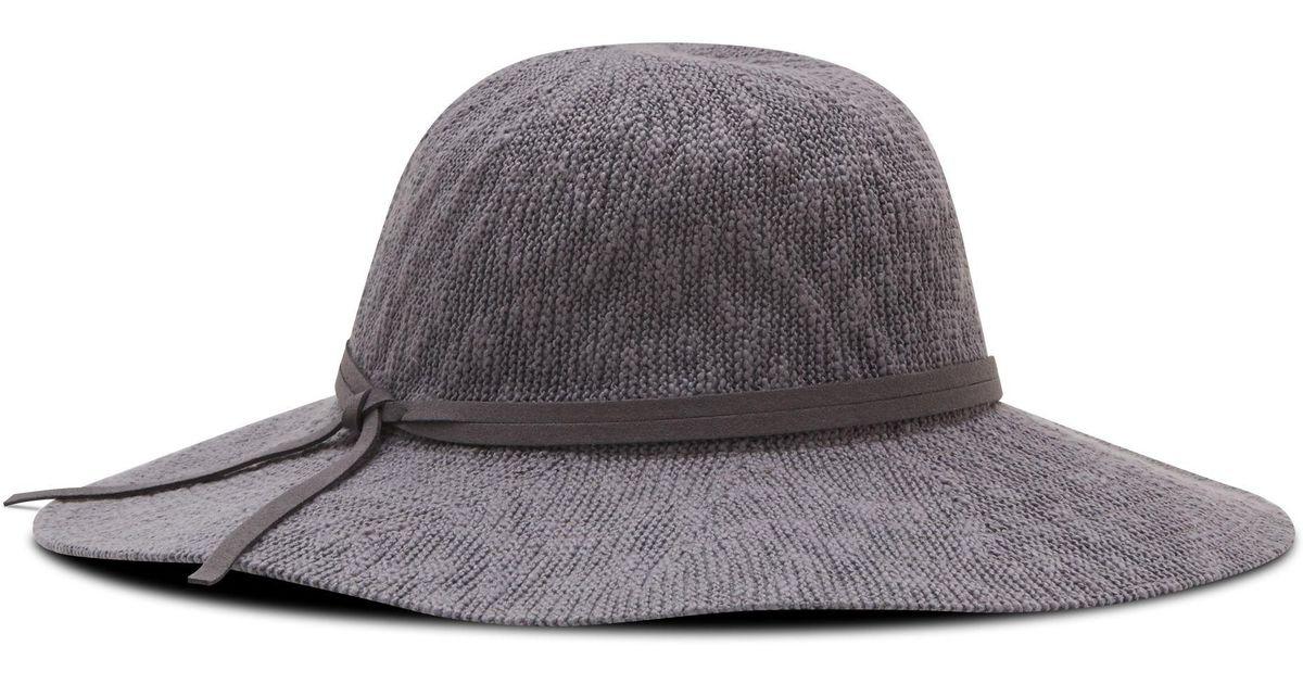 74c8394033d Lyst - Nine West Textured Knit Floppy Hat in Gray