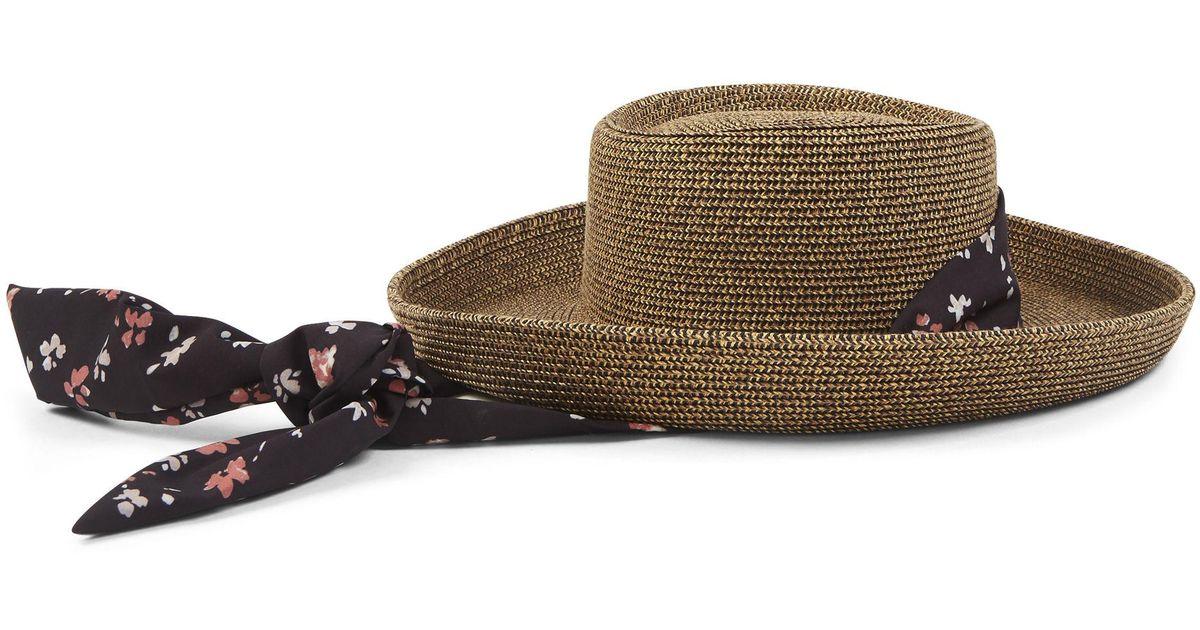 Lyst - Nine West Sun Hat With Scarf Tie a86b0651de9