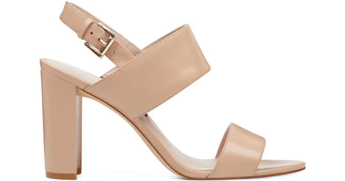 369f447979a Lyst - Nine West Narolyn Block Heel Sandals in Natural