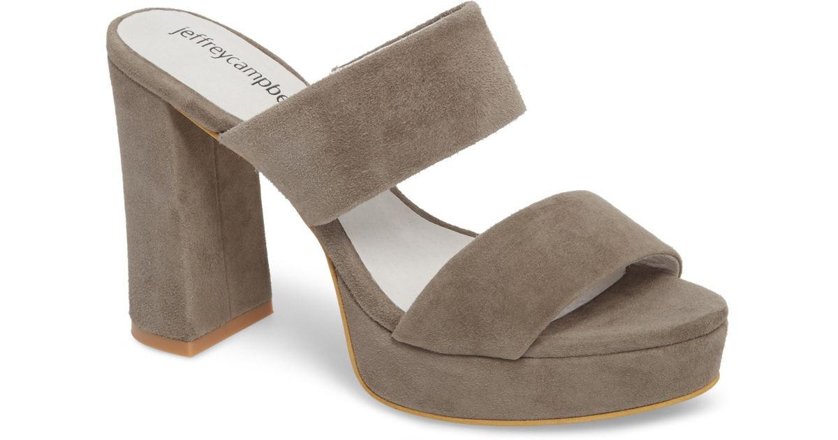 8cd072b97903 Lyst - Jeffrey Campbell Adriana Double Band Platform Sandal in Gray