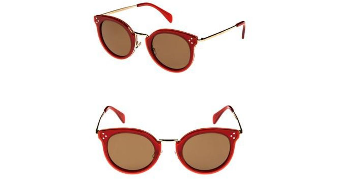 5e1a26b83288 Lyst - Céline 49mm Round Sunglasses - Milky Red  Pale Gold in Red