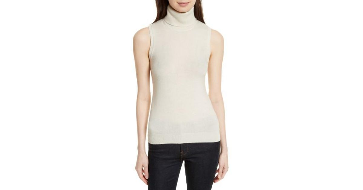 70d49a77034 Lyst - Theory Cashmere Turtleneck Shell in White