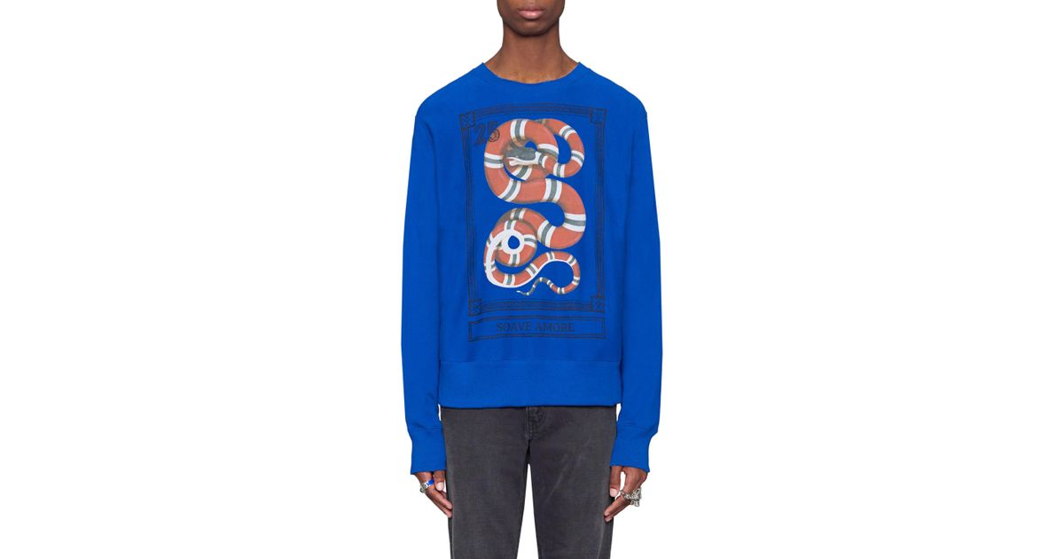 4f53edd26 Gucci Snake Stamp Graphic Crewneck Sweatshirt in Blue for Men - Lyst