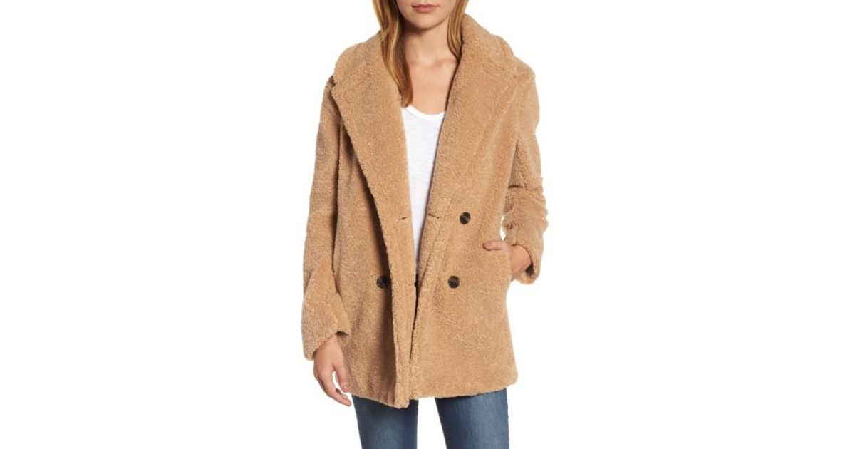 5a3094c01 Lyst - Kensie Teddy Bear Notch Collar Faux Fur Coat in Natural