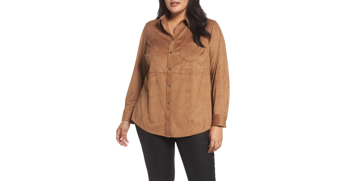 cc46dbd908b902 Lyst - Foxcroft Jena Faux Suede Shirt in Brown