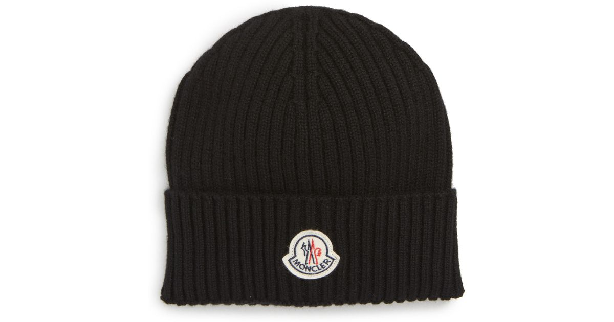 45cbbbd9855 Lyst - Moncler Berretto Rib Cashmere Beanie in Black for Men