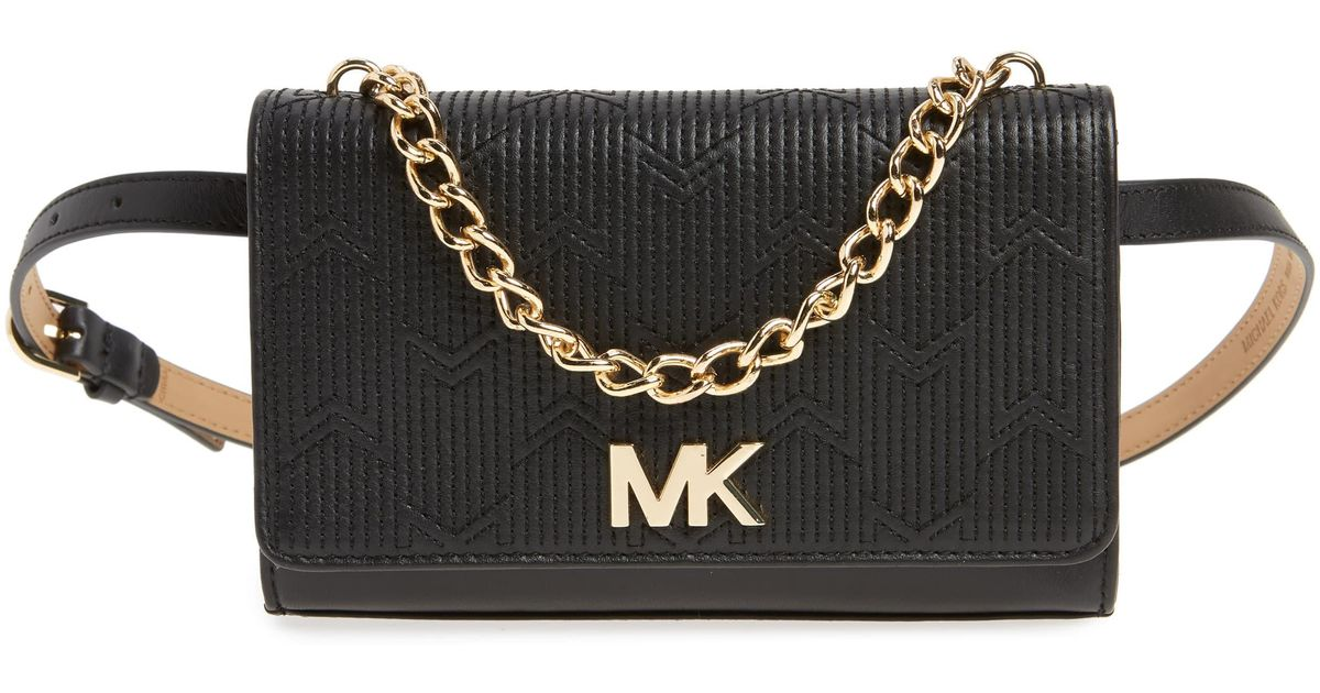 8b4b04dc9a8220 MICHAEL Michael Kors Deco M Quilted Leather Belt Bag - in Black - Lyst