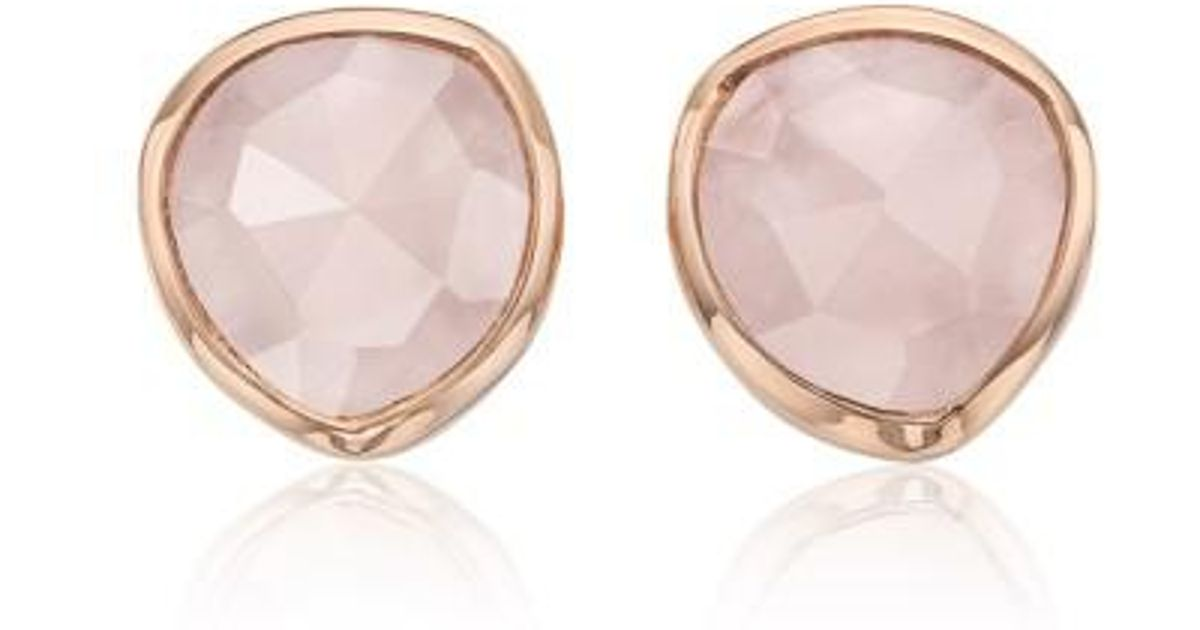 Rose Gold Siren Mini Stud Earrings Pink Quartz Monica Vinader SmApiQ
