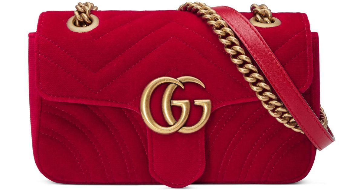 0f141068cce Lyst - Gucci Small Gg Marmont 2.0 Matelasse Velvet Shoulder Bag in Black