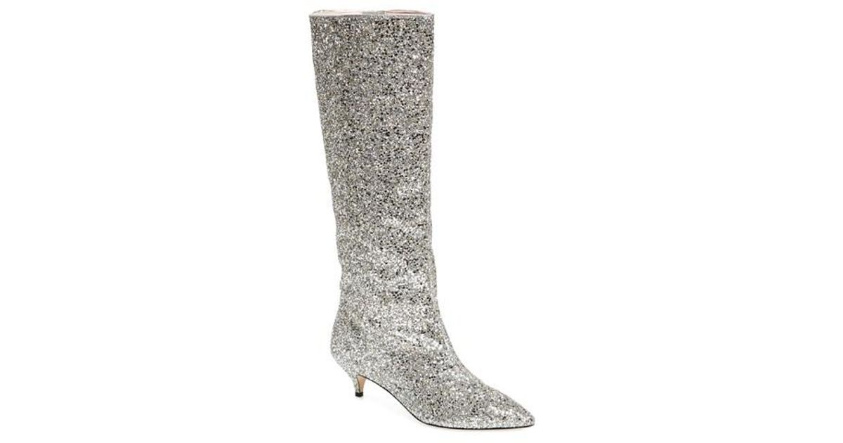 7f7beba45553 Lyst - Kate Spade Olina Glitter Knee High Boot in Metallic