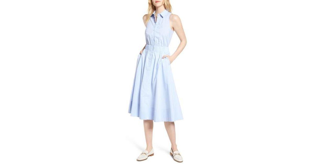 237ad0f79f0 Nordstrom 1901 Sleeveless Shirtdress in Blue - Lyst