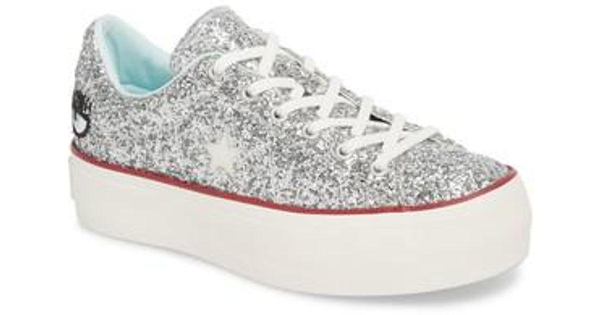 c1da3a8037c Lyst - Converse X Chiara Ferragni One Star Glitter Platform Sneaker in  Metallic