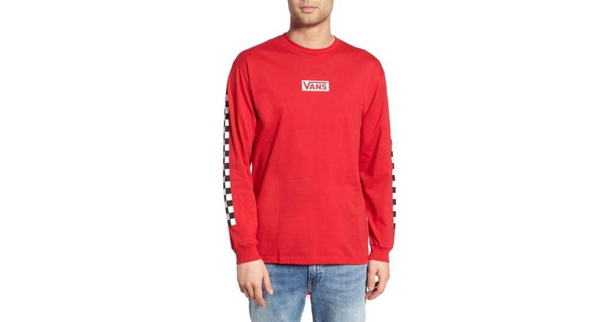 71b014fe Vans Classic Checkmate Long Sleeve T-shirt in Red for Men - Lyst