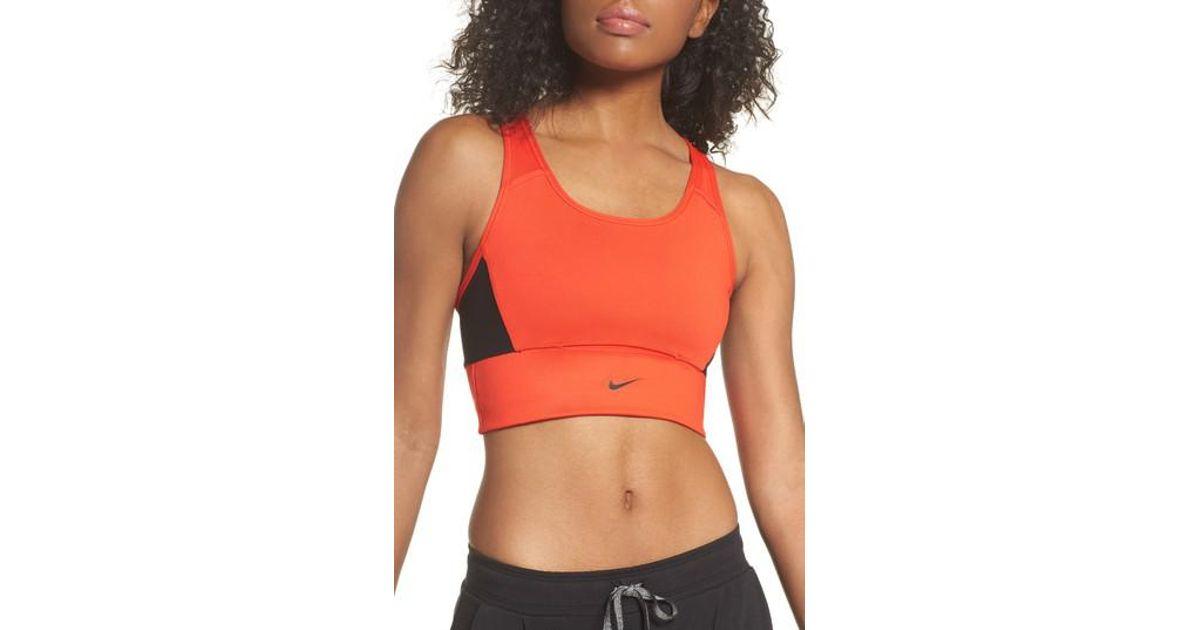 50469927f2 Lyst - Nike Swoosh Pocket Sports Bra in Red