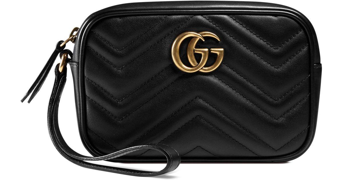 506de238ac94 Gucci Gg Marmont Matelasse Imitation Pearl Leather Shoulder Bag - in Black  - Lyst