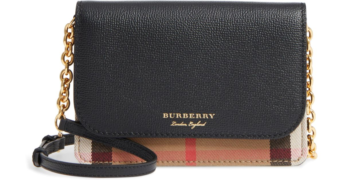 Lyst - Burberry Hampshire House Check   Leather Wallet On A Chain - in Brown a862a3d33b1cc