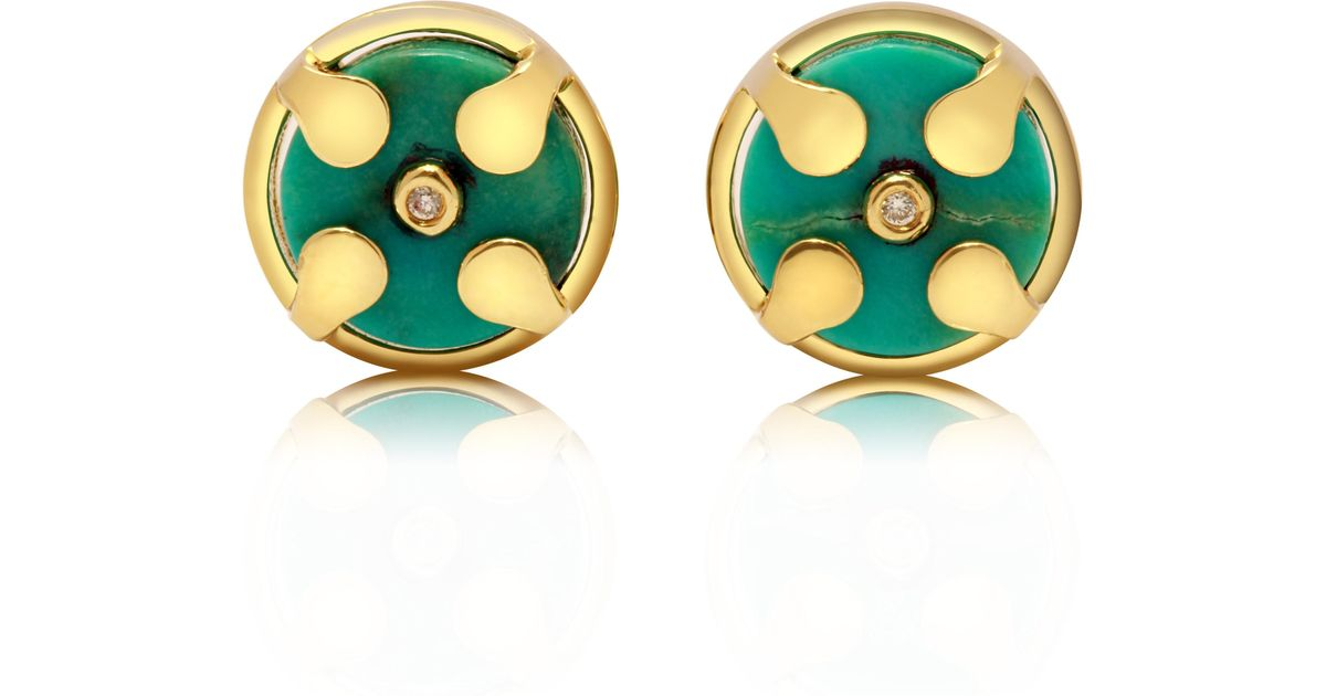 54359dc95 Lyst - Congés Truth & Balance Natural Turquoise Stud Earrings in Blue