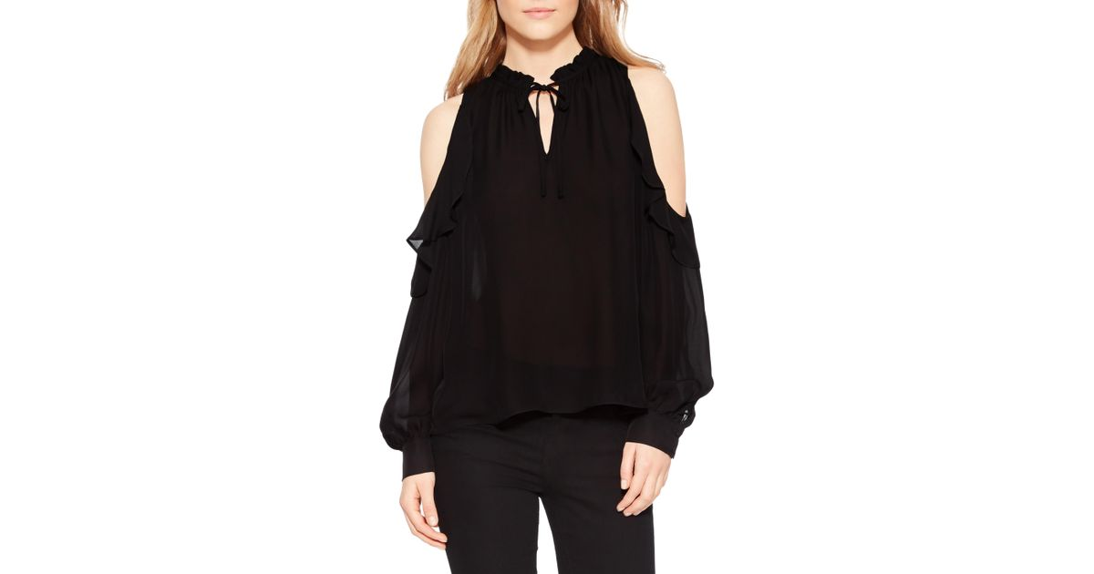16114d9825d Lyst - Parker Marjorie Silk Blend Cold Shoulder Blouse in Black
