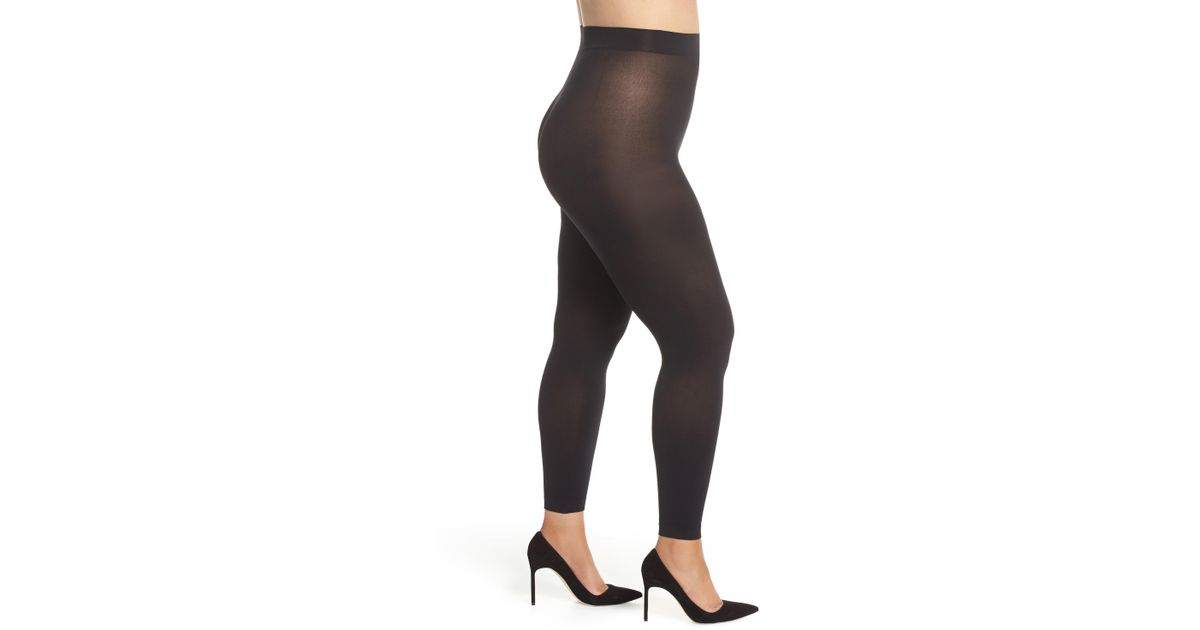 27d50cd3488 Hanes Curves Blackout Footless Tights in Black - Lyst