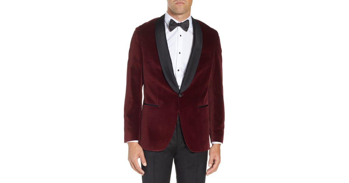 569f0030f BOSS Hockley Slim Fit Velvet Cotton Dinner Jacket in Purple for Men - Lyst