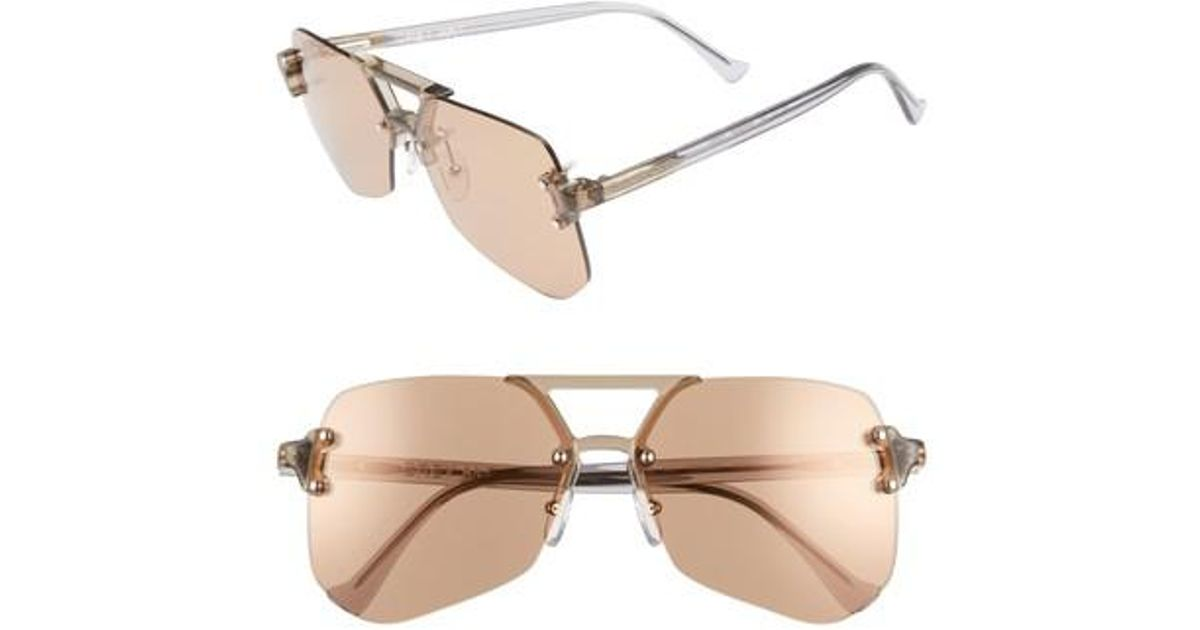 16665472f4 Lyst - Grey Ant Yesway 60mm Sunglasses - Tan Lens  Silver Hardware in  Metallic