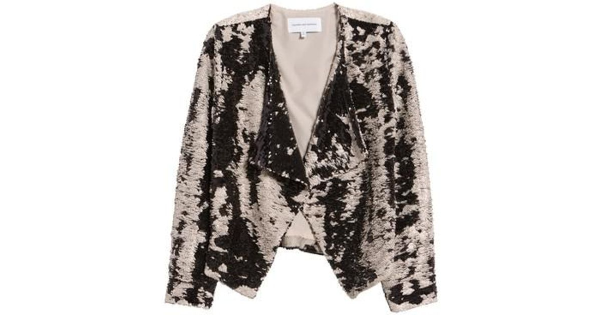 3ce9c7e0d4e Lyst - Cupcakes And Cashmere Bellwood Sequin Drape Front Jacket in Natural
