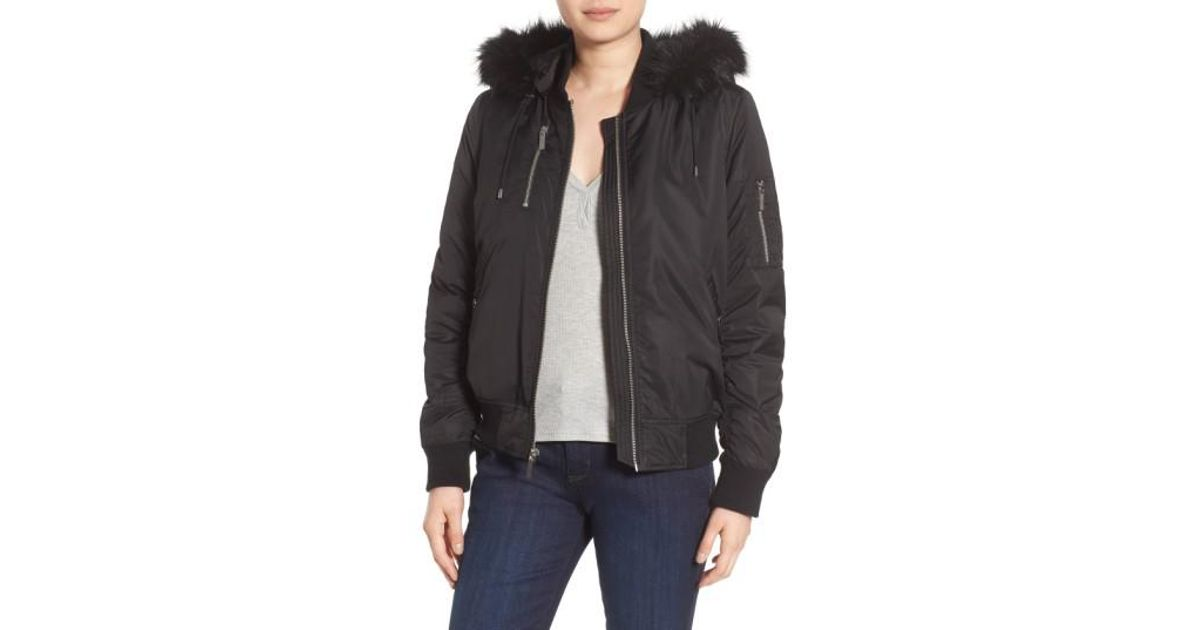 97ac938214aa Lyst - French Connection  varsity  Hooded Bomber Jacket With Faux Fur Trim  in Black