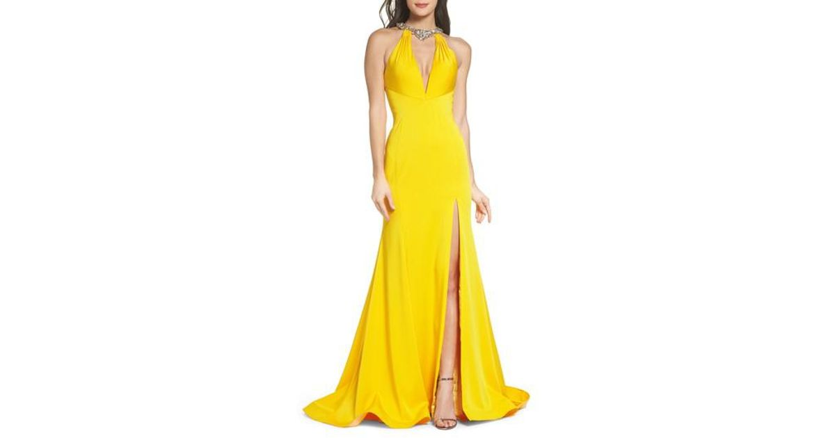 7a7c584bd47 Lyst - Mac Duggal Jewel Neck Mermaid Gown in Yellow