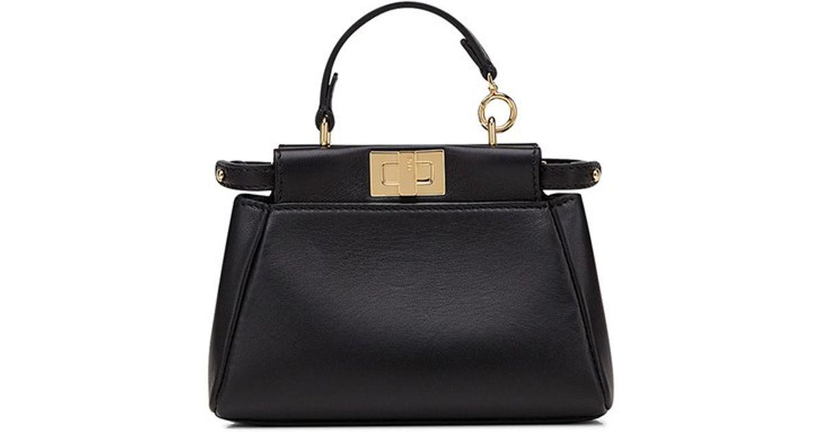 256e15e3ee Lyst - Fendi  micro Peekaboo  Nappa Leather Bag in Black