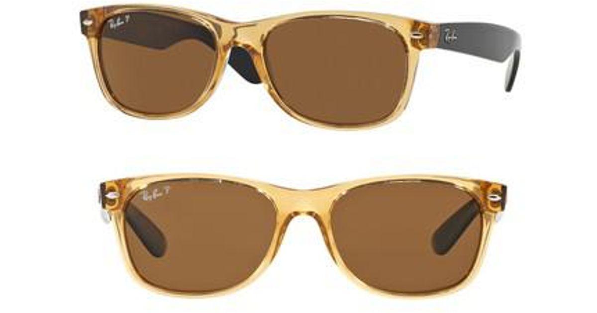 0216e23ecd Lyst - Ray-Ban Standard New Wayfarer 55mm Polarized Sunglasses - Honey in  Brown