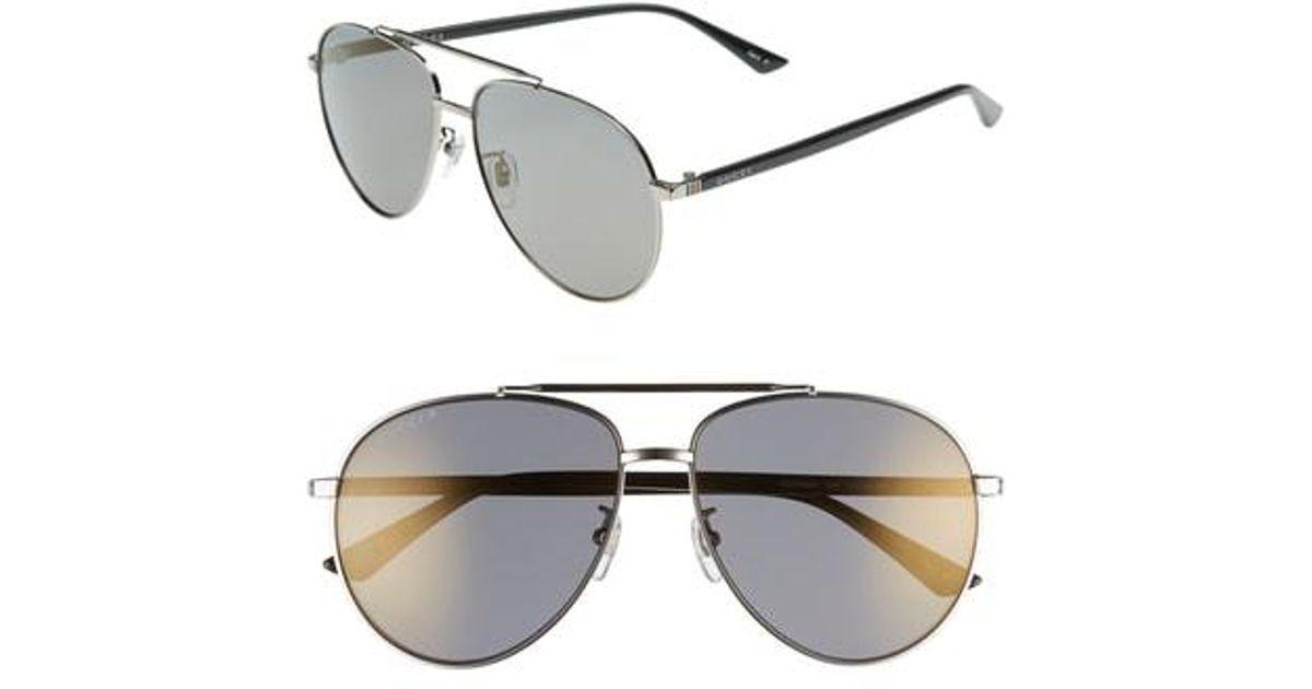 de50fdeb2e Lyst - Gucci 61mm Polarized Aviator Sunglasses - Shiny Ruthenium in Metallic  for Men