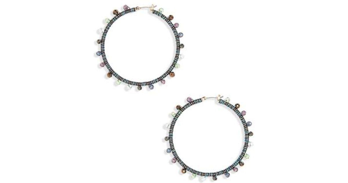 4dc76917c Lyst - Rebecca Minkoff Beaded Hoop Earrings in Metallic