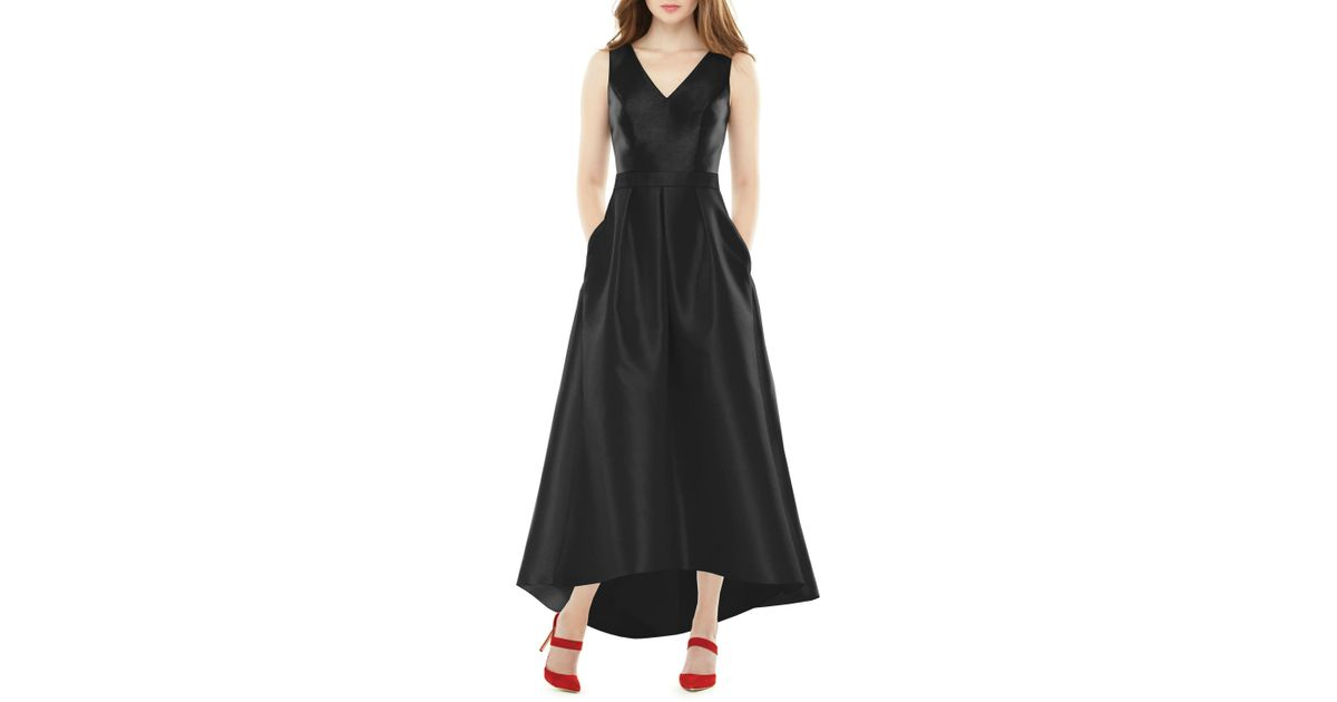 Lyst - Alfred Sung High low Sateen Twill Gown in Black - Save 15% bcfd78eed