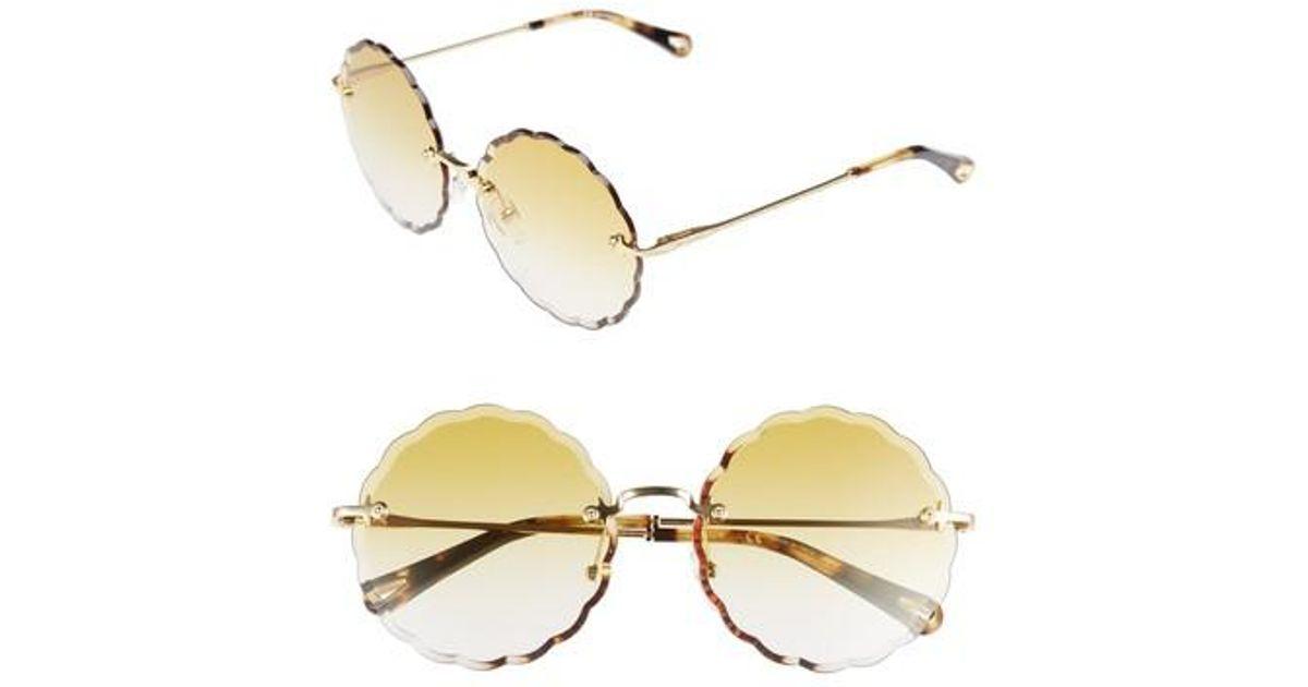 3b3a71776ba4 Lyst - Chloé Rosie 60mm Scalloped Rimless Sunglasses in Metallic