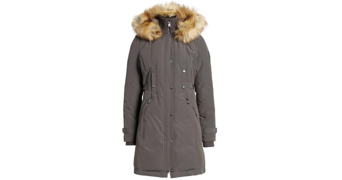 2dcfb4a7b Vince Camuto - Gray Faux Fur Trim Down & Feather Fill Parka - Lyst