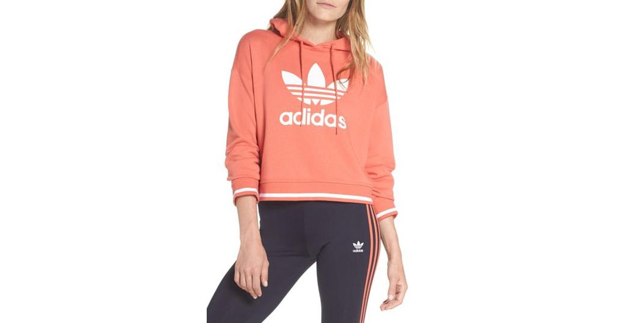 5b4f050c8 adidas Active Icons Cropped Hoodie in Red - Lyst