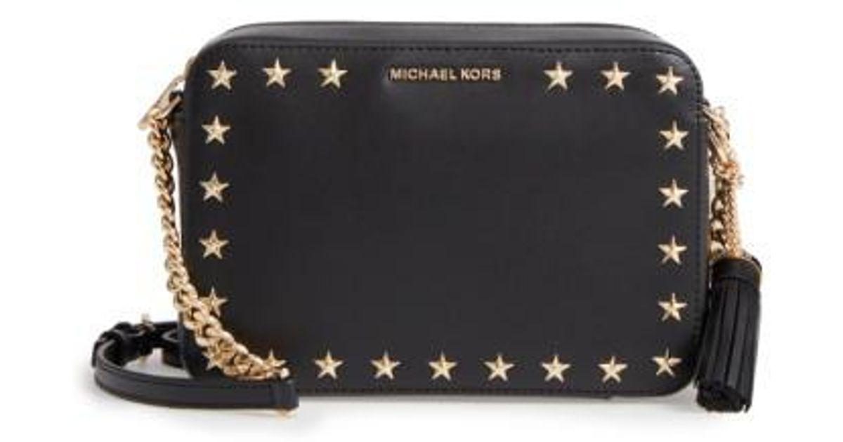 42566388b MICHAEL Michael Kors Medium Ginny Star Studded Leather Crossbody Camera Bag  in Black - Lyst