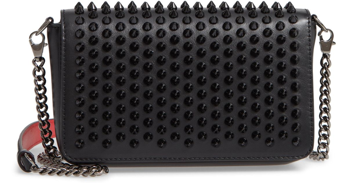 ac7ab7b9f8ef Lyst - Christian Louboutin Zoompouch Spiked Leather Clutch - in Black