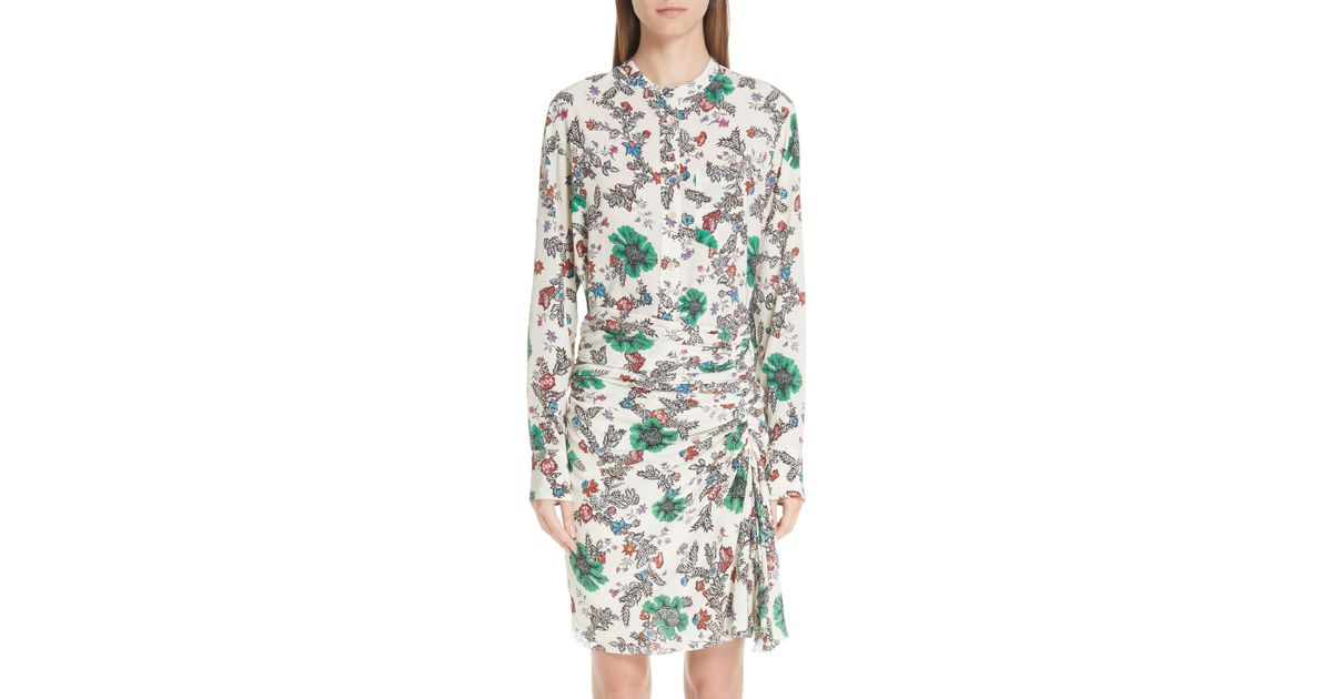 d26769684d920e Lyst - Isabel Marant Rusak Floral Print Stretch Silk Blouse in Green