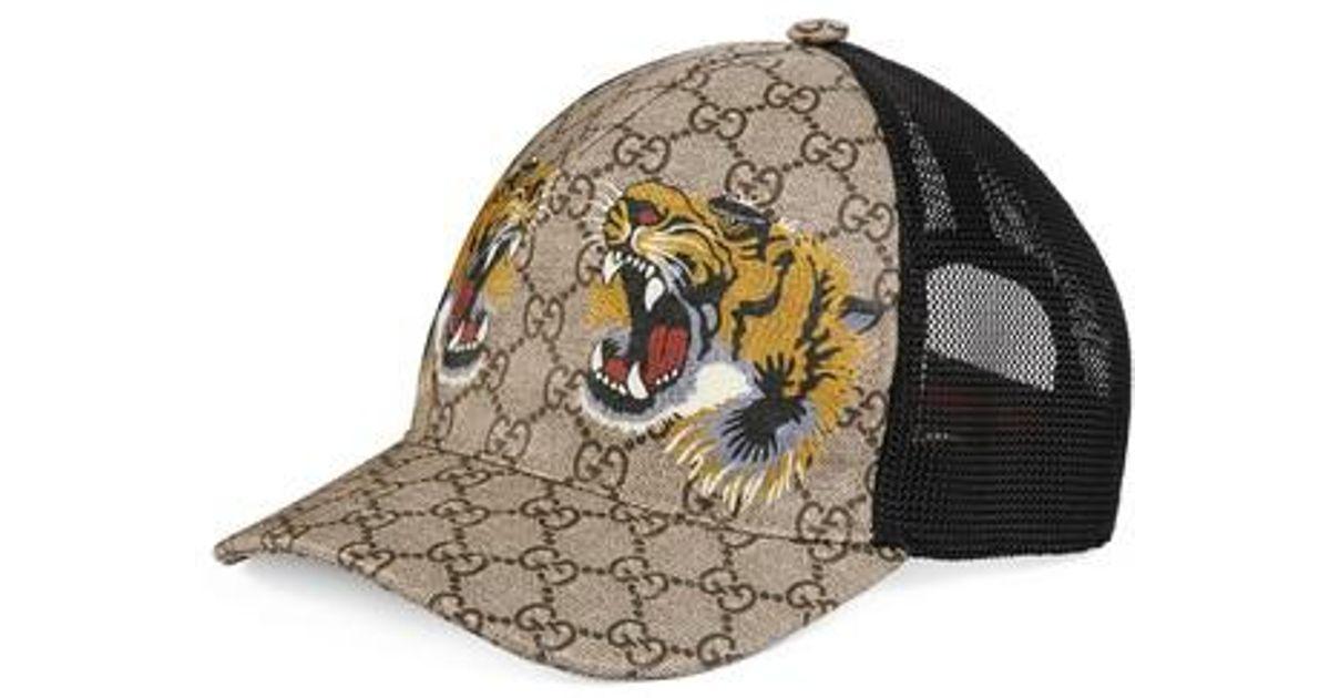8eba34a3317b7 Gucci Tiger Logo Print Baseball Cap - for Men - Lyst